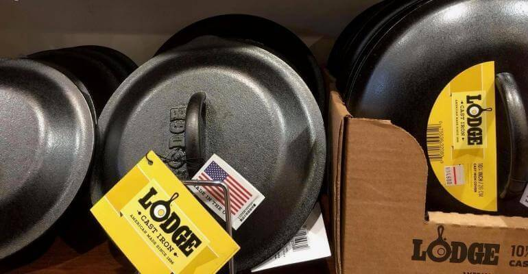 Lodge skillet lids on display. Three sizes of lids from smallest to largest.