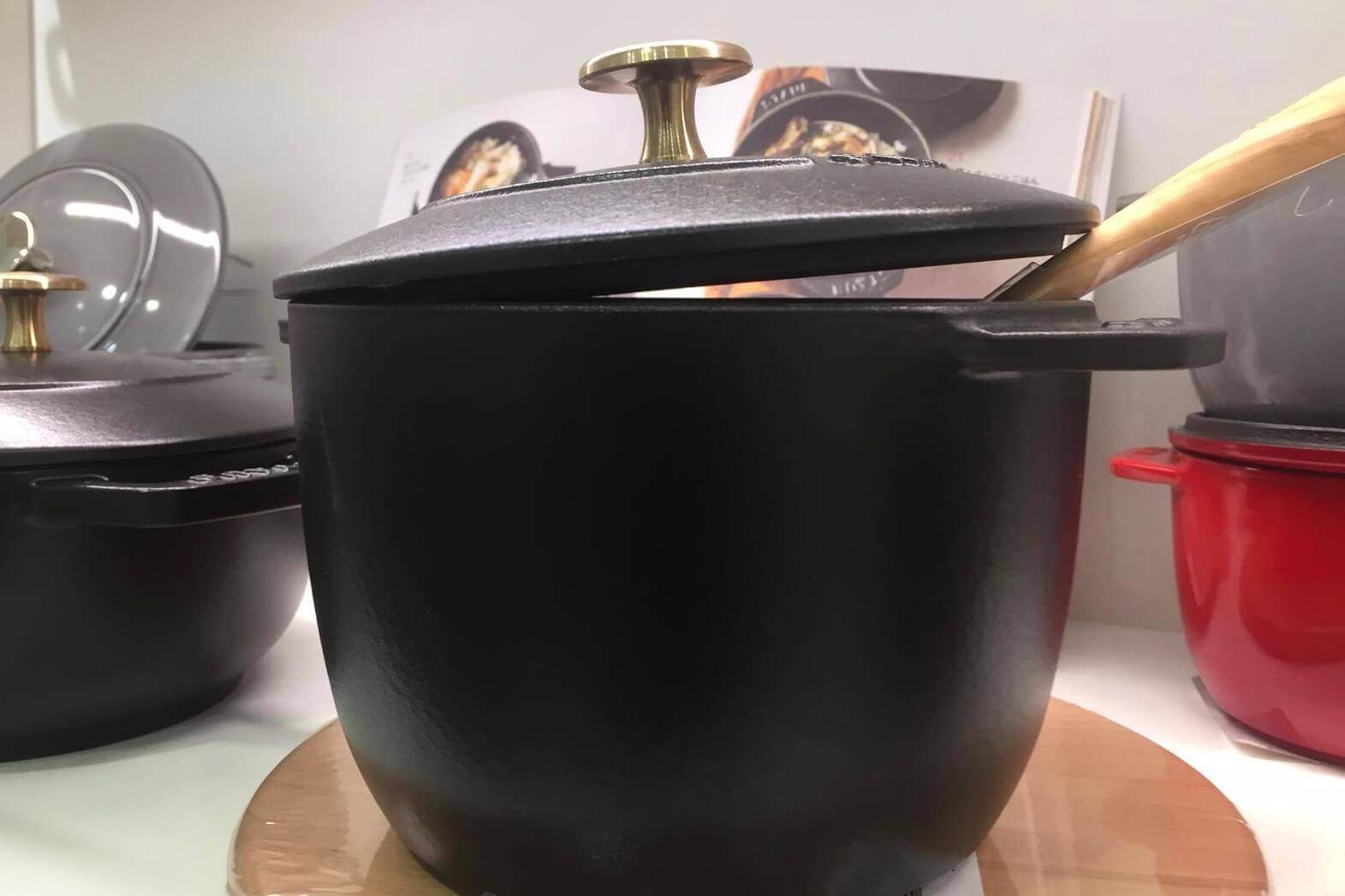 Staub cast iron make spectacular cookware. This pot is made for the Japanese market called a rice cooker.