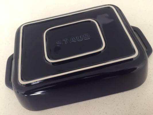 Blue Staub baking dish. (In the picture the Staub baking dish in turned oven to show the base).
