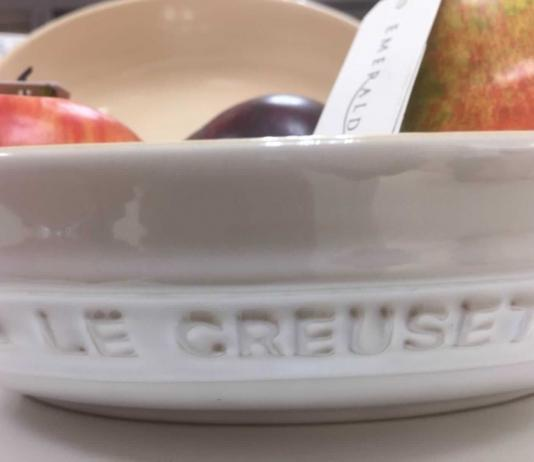 Is Le Creuset ceramic cookware good. (in the picture is a white ceramic bowl filled with fruit).