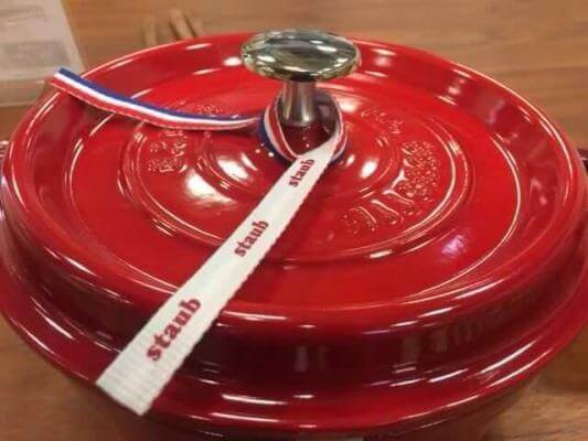 Staub knob comes nickel plated for colored Dutch ovens.