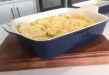 Emile Henry ceramic cookware. (In the picture is a blue Emile Henry baking dish with potato bake ready to go into the oven).
