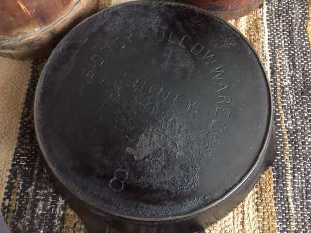 Sidney Hollowware skillet showing the logo on the base.