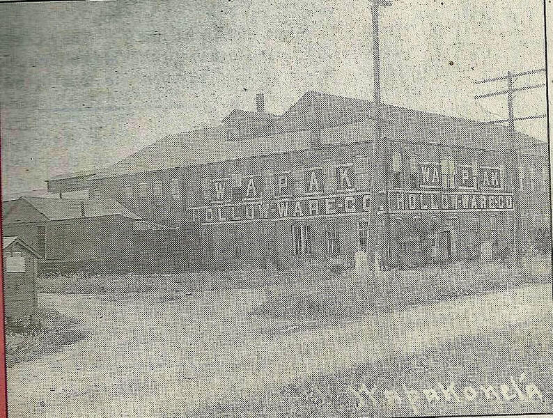 Vintage black and white photo of the Wapak Hollow Ware co.