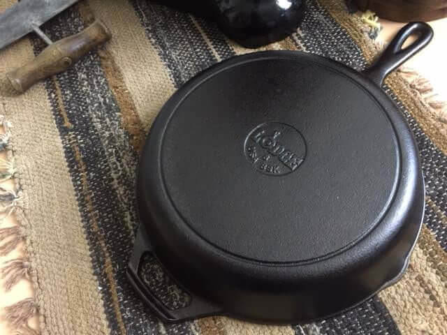 Lodge Manufacturing skillet with egg logo