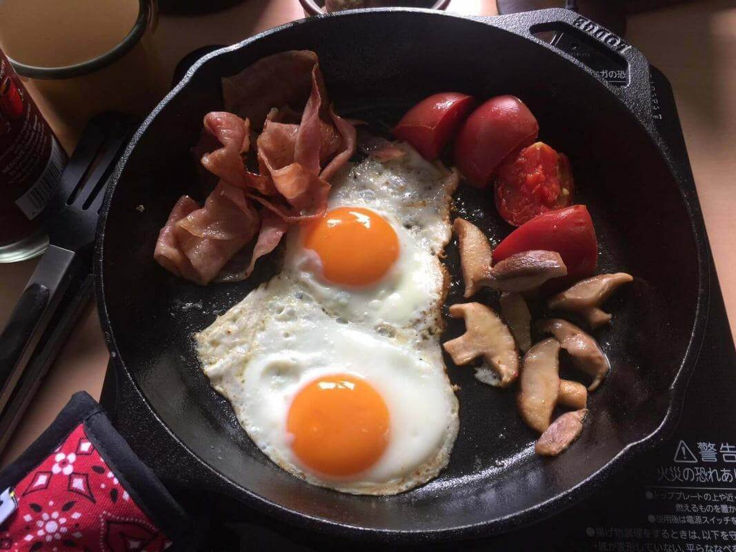 English breakfast cooking in my Lodge cast iron skillet.