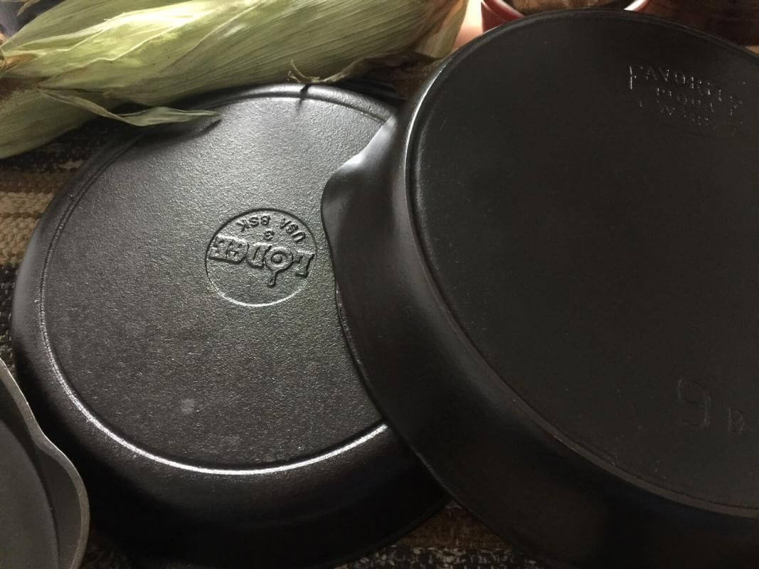 One of the benefits of cast iron is that it will last a long time. Here's a new cast iron skillet with two antique skillets.