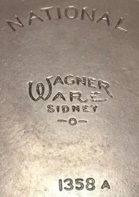 National skillet with center Wagner Ware logo.