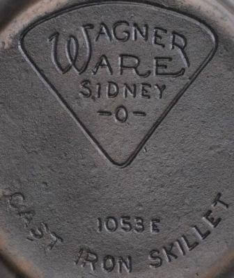 Wagner Ware cast iron skillet with pie logo