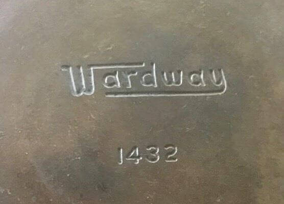 Wardway cast iron skillet. close photo of the Wardway logo.