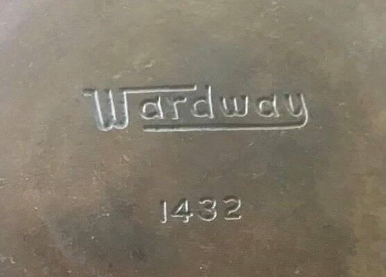 Wardway cast iron skillet. close photo of the Wardway logo.