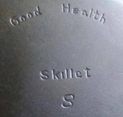 Good Health Skillet made by Griswold. Close up photo of the logo.