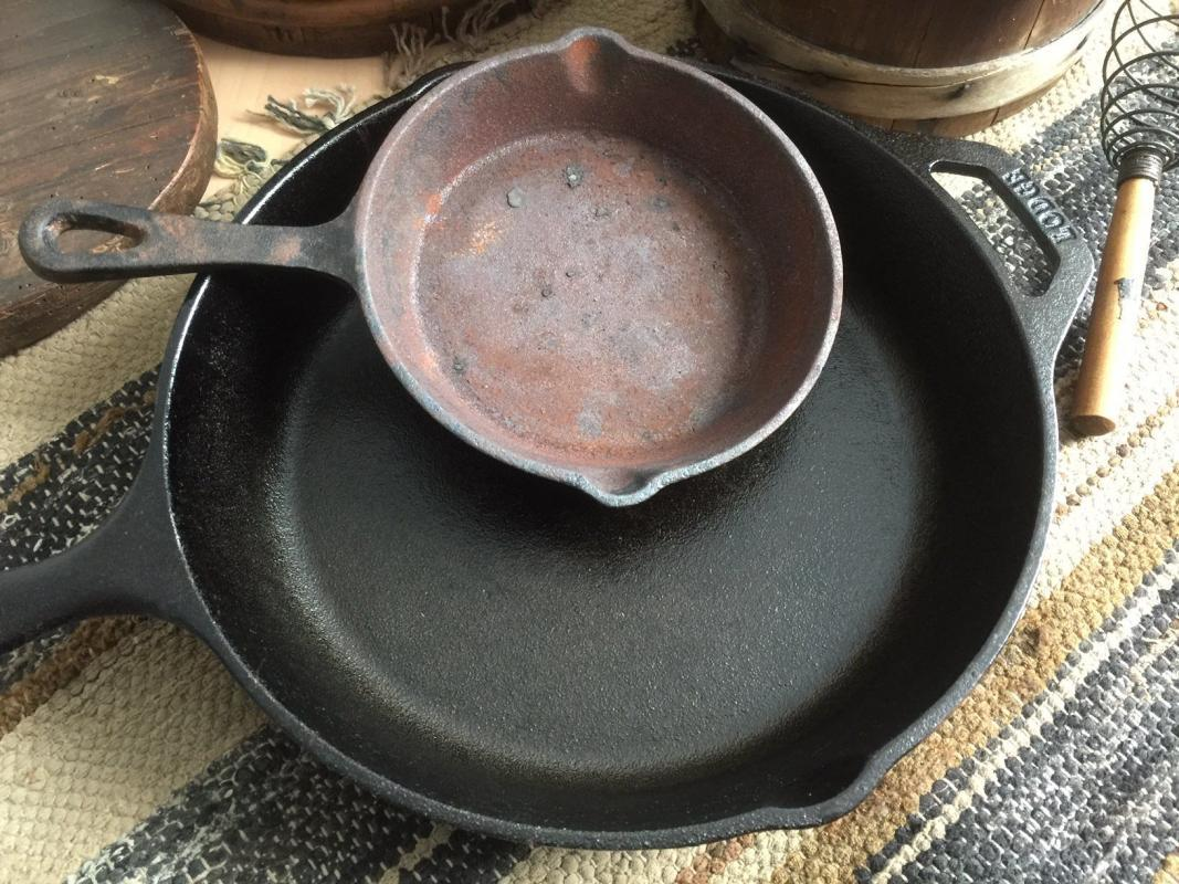 Is cast iron safe? Picture of a cheap skillet and a Lodge cast iron skillet.