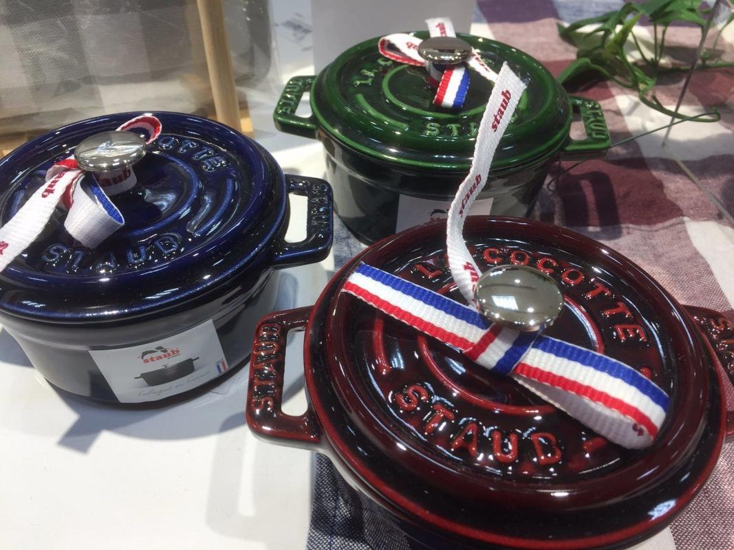 Three Staub Cocottes with nickel plated knobs