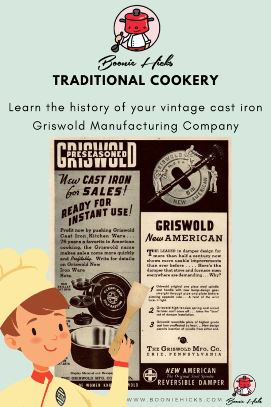 Vintage Griswold cast iron advertisement