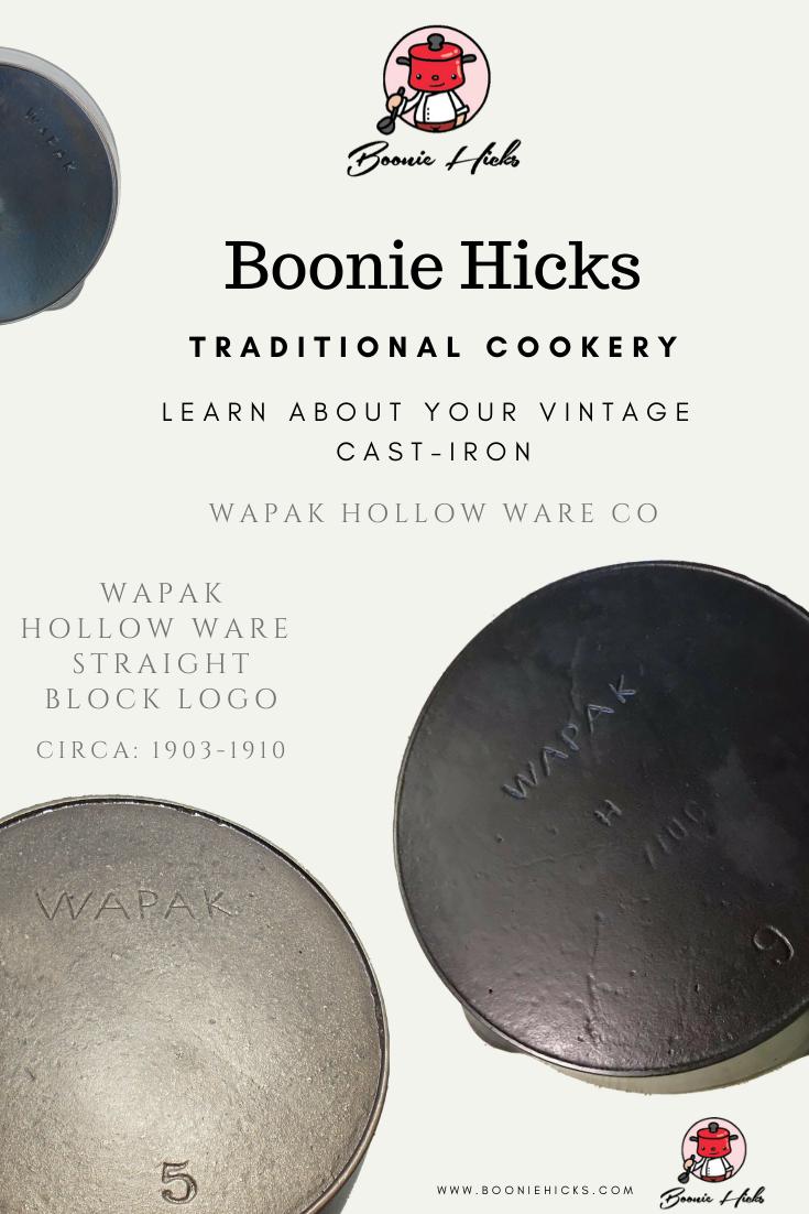 Wapak cast iron identification straight block logo