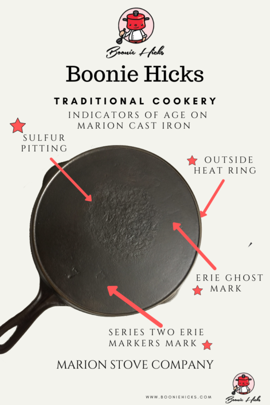 how to tell the age of your vintage cast ion Marion skillet.