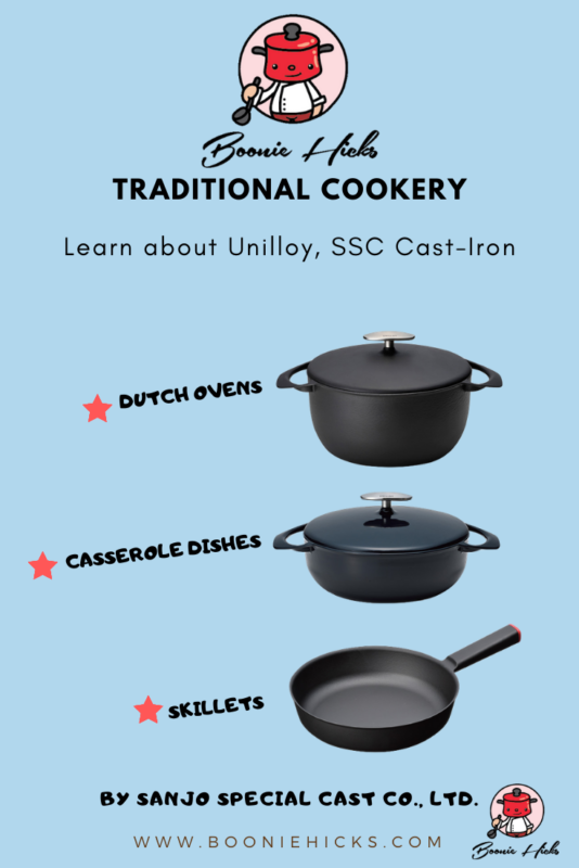 Three types of Unilloy and SSC cookware