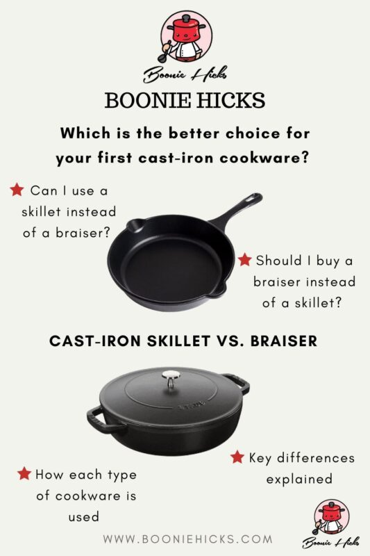 Comparing cast iron skillets and cast iron braisers.